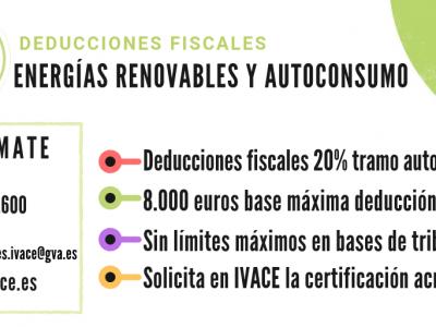 Deducciones fiscales del 20% en las instalaciones de renovables y autoconsumo